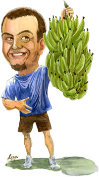 Watercolor illustration of Tony holding a bunch of bananas.